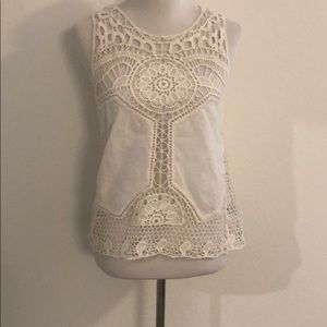 Worn 1x Boho Cream Crochet Inlay Top
